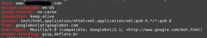 Googlebot Desktop HTTP Headers Fetch
